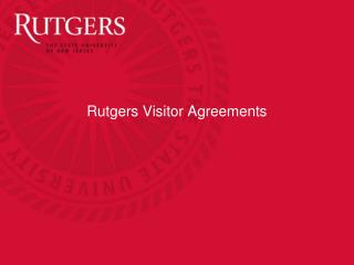 Rutgers Visitor Agreements