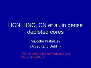 HCN, HNC, CN et al. in dense depleted cores