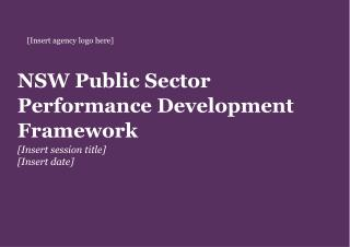 NSW Public Sector Performance Development Framework [Insert session title] [Insert date]