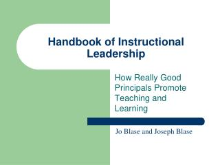 Handbook of Instructional Leadership