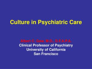 Culture in Psychiatric Care