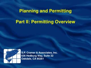 Planning and Permitting Part II: Permitting Overview