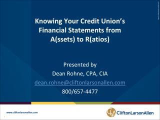 Knowing Your Credit Union's Financial Statements from A(ssets) to R(atios)