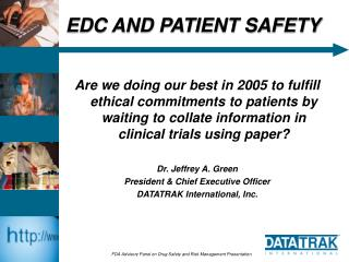 EDC AND PATIENT SAFETY