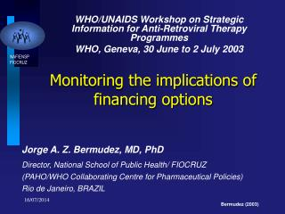 Monitoring the implications of financing options
