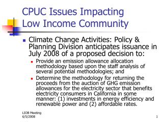 CPUC Issues Impacting Low Income Community