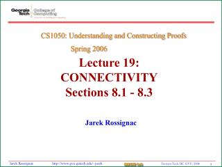 Lecture 19:  CONNECTIVITY Sections 8.1 - 8.3