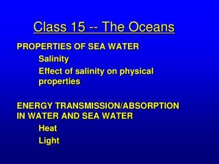 Class 15 -- The Oceans