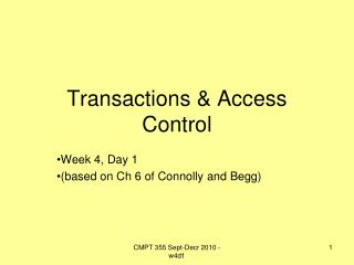 Transactions & Access Control