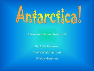 Information About Antarctica! By: Tyler Hallman,  Trisha Workman, and Shelby Hamilton