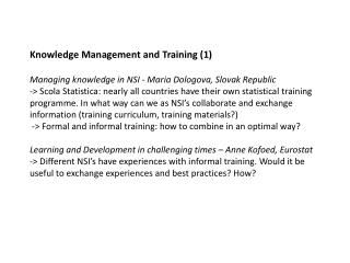 Knowledge Management and Training (2)
