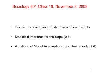 Sociology 601 Class 19: November 3, 2008
