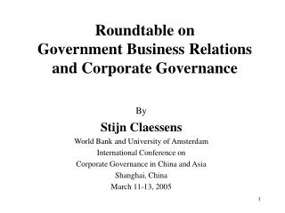 Roundtable on  Government Business Relations and Corporate Governance