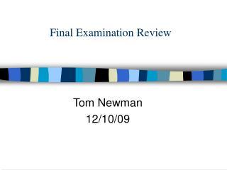 Final Examination Review