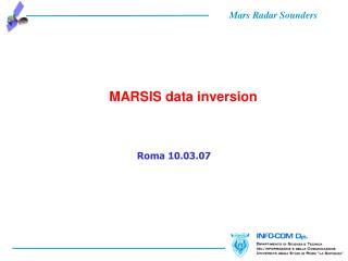 MARSIS data inversion