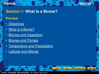 Section 1:  What Is a Biome?