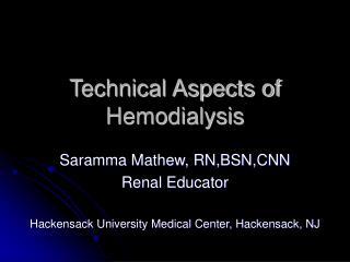 Technical Aspects of Hemodialysis