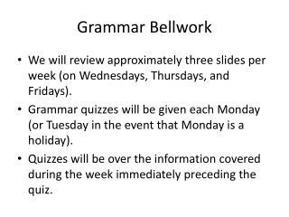 Grammar Bellwork