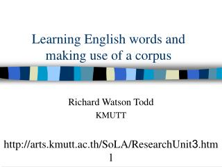 Learning English words and making use of a corpus