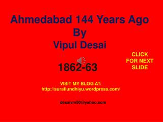 Ahmedabad 144 Years Ago By Vipul Desai