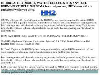 HH2(R) SAFE HYDROGEN WATER FUEL CELLS FITS ANY FUEL BURNING
