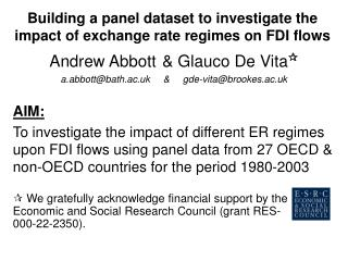 Building a panel dataset to investigate the impact of exchange rate regimes on FDI flows