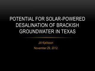 Potential for Solar-Powered Desalination of Brackish Groundwater In Texas