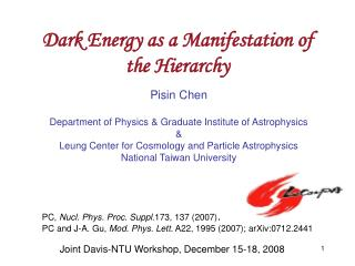 Dark Energy as a Manifestation of the Hierarchy
