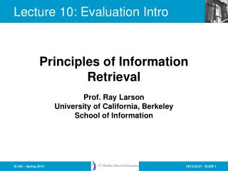 Lecture  10:  Evaluation Intro