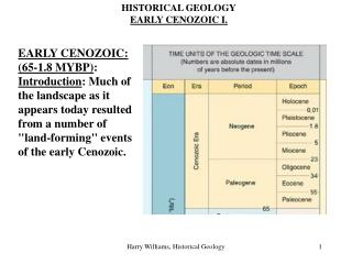 HISTORICAL GEOLOGY EARLY CENOZOIC I.