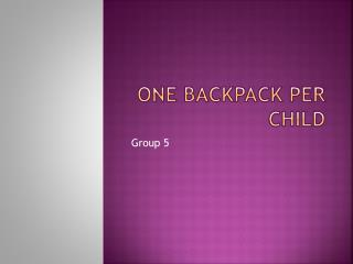 One Backpack Per Child