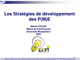 Les Stratégies de développement des P(M)E