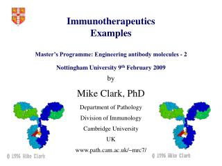 Immunotherapeutics Examples  Master s Programme: Engineering antibody molecules - 2  Nottingham University 9th February