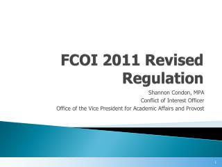 FCOI 2011 Revised Regulation