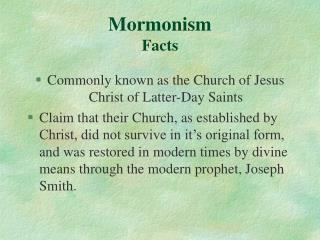 Mormonism Facts