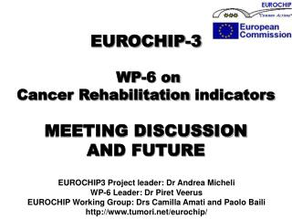 EUROCHIP-3 WP-6 on  Cancer Rehabilitation  indicators MEETING DISCUSSION  AND FUTURE