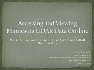 Accessing and Viewing Minnesota LiDAR Data On-line