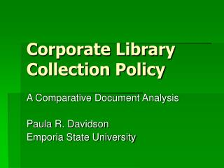Corporate Library Collection Policy
