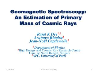 Geomagnetic Spectroscopy: An Estimation of Primary Mass of Cosmic Rays