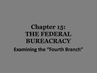 Chapter 15: THE  FEDERAL BUREACRACY