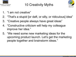 10 Creativity Myths