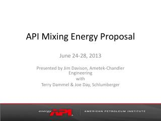 API Mixing Energy Proposal