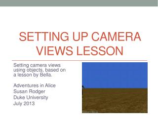 Setting up Camera Views Lesson