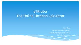 eTitrator The Online Titration Calculator