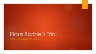 Klaus  Barbie's  Trial
