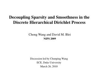 Decoupling Sparsity and Smoothness in the Discrete Hierarchical Dirichlet Process