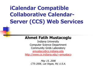 iCalendar Compatible Collaborative Calendar-Server (CCS) Web Services