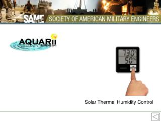 Solar Thermal Humidity Control