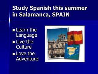 Study Spanish this summer in Salamanca, SPAIN