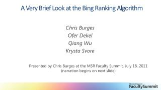 A Very Brief Look at the Bing Ranking Algorithm